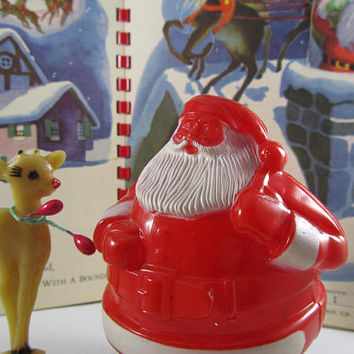 "Santa Candy Container ""Rosbro"" Plastic Santa on Skis Vintage Whimsical Christmas Fillable Favor Novelty Decor Mid Century Stocking Stuffer"