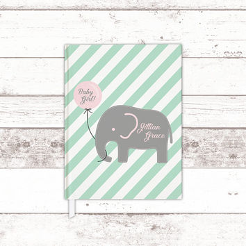 Elephant baby shower guest book ideas - mint pink baby shower - new baby journal book - baby keepsake book - baby shower gift for baby girl