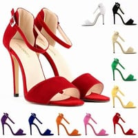 LADY SEXY PARTY OPEN TOE BRIDAL Flock  HIGH HEELS SHOES SANDALS US SIZE 4-11  10 color  102-2VE = 5710713025