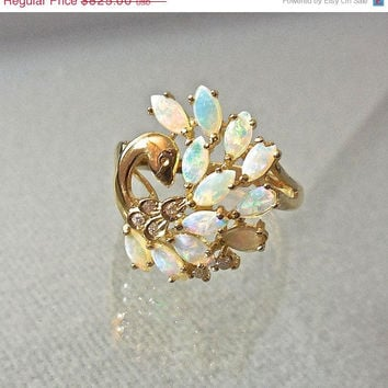 SALE Rare Opal, Diamonds, and 14K Gold Ring, Peacock Vintage Fine Jewelry OOAK Gemstone Figural , Unique Engagement, Birthstone, or Love Ri