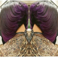 T1b/Purple Ombre Glueless Virgin Brazilian Short Bob Human Hair Wig