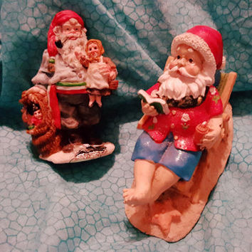 Two Charming Vintage Small Santa Claus Figurines