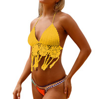 Yellow Crochet Bikini Top With Bottom LAVELIQ SALE