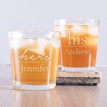 Engraved His and Hers Couple's Rocks Glass Set