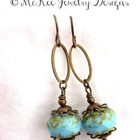 Blue Czech Picasso glass and bronze earrings.