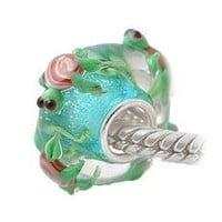 Cute Turtles 3D Bead on Aqua Blue Glitter Sterling Silver Single Core For European Style Charm Bracelet
