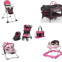 Disney Minnie Mash Up Complete Baby Gear Baby Bundle with Bouncer & Diaper Bag