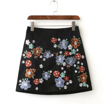 FW16 High Waist Vintage Embroidery Baby Skirt [8511461895]