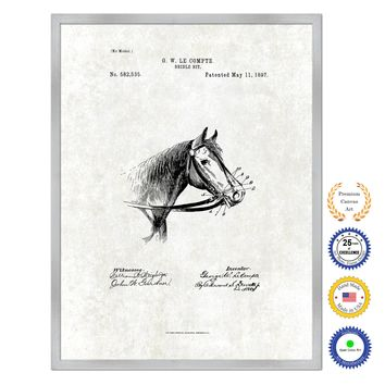1897 Farming Horse Bridle Bit Antique Patent Artwork Silver Framed Canvas Print Home Office Decor Great for Farmer Milk Lover Cattle Rancher