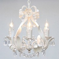 "White Wrought Iron Floral Chandelier Crystal Flower Chandeliers Lighting H15"" X W11"" - Perfect for Kids' and Girls Bedrooms!"