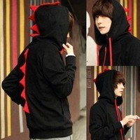 MC62 Vogue Men's cosplay boys dinosaurs coat suit Sweater Hoodie / M L XL black