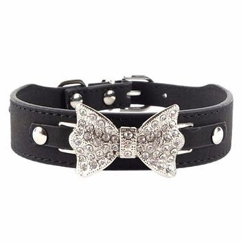 25MM Bling DIY Crystal Pet Dog Leather Bow Collar Rhinestone Customized Cat Necklace Free Name Bucklet XS S M