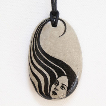 Black and gray art necklace: original painting and design, hand painted on stone realized as pendant, unique stone art jewelry for her!