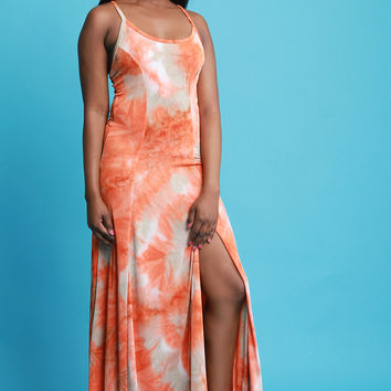 Left Slit Tie Dye Maxi Dress | UrbanOG