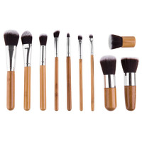 11 Pcs Wool Makeup Brush Set with Pouch