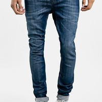 Men's Topman Spray On Skinny Fit Jeans (Mid Blue)