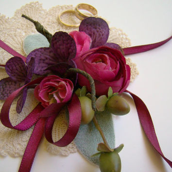 Wedding Corsage, Mother's Corsage, Fall Jewel Tone Wrist Corsage, Wine and Dark Purple, Wedding Party Flowers