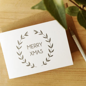 Christmas Card with Hand Lettering Merry Xmas, Wreath Illustration with kraft envelopes
