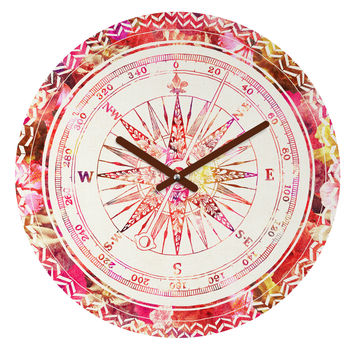 Bianca Green Follow Your Own Path Pink Round Clock