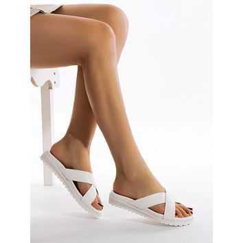 Open Toe Cross Strap Slides