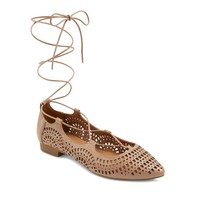 Women's Feliza Laser Cut Ghillie Pointed Toe Lace Up Ballet Flats Mossimo Supply Co.™