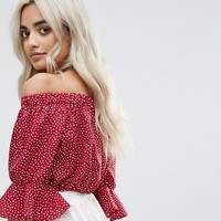 Boohoo Petite Bardot Polka Dot Crop Top at asos.com
