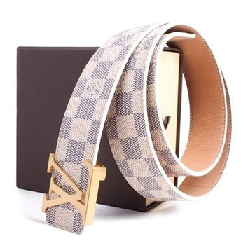 Louis Vuitton Fashion Belt Classic White Chess Grid Belt With Gold Buckle 38-40""