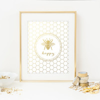 Bee Happy Faux Gold Foil Art Print - Gilded Office Decor - Girly Minimalist Art - Imitation Gold Leaf - Home Office Wall Art - SKU: 121-GF