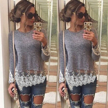 Lace Patchwork Long Sleeves Scoop Irregular Blouse