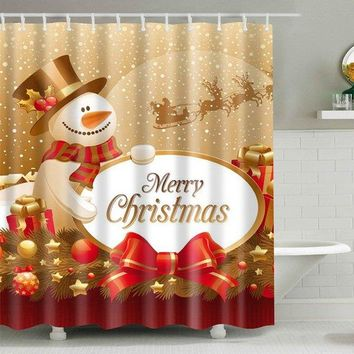 Waterproof Christmas Fabric Shower Curtain