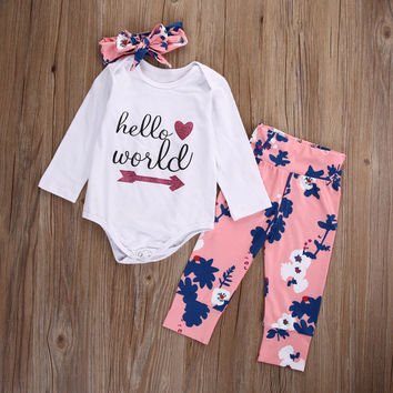 2016 Autumn Newborn Baby Girl Cotton Clothes Set Kids Hello World Tops Pants Headband Outfits Baby Clothing0-18M