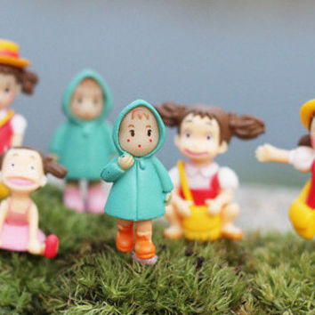 6Pcs Kawaii Lovely Girls | Raincoat Xiaomei Doll | Micro Landscape Anime Cartoon Figurines | Fairy Garden Miniatures Decor