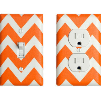 Chevron Light Switch Plate & Outlet Cover / Orange and White /  Zig Zags by Robert Kaufman / Slightly Smitten Kitten
