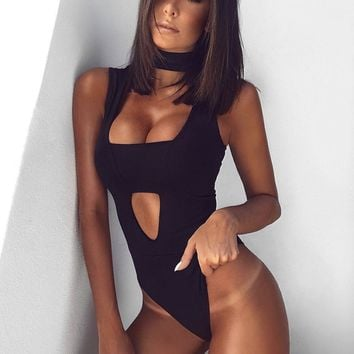 Arizona Sexy V Neck Bandage Bodysuit in 4 colors