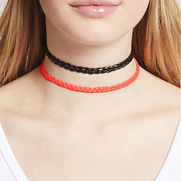 Braided Faux Leather Choker Set