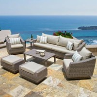 RST Brands Cannes 8-Piece Patio Seating Set with Slate Grey Cushions OP-PESS8-CNS-SLT-K at The Home Depot - Mobile