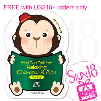 Freebies for US$10+order ONLY - SOC Animal Cutie Mask Pack Relaxing Charcoal & Aloe Monkey   *exp.date 03/18*