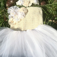 Rustic Flower Girl Tutu Dress Set/Country Wedding/Shabby Chic Flower Girl/Rustic Flower Girl Dress