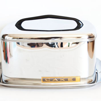 Vintage Lincoln Beautyware Cake Carrier with Handle, Beauty Ware Metal Chrome Cake Holder Storage Container