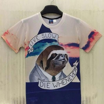 New Fashion  Animal Gentleman printed men 3d t-shirt summer tops letters LIVE SLOW DIE WHENEVER grap