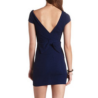 CAP SLEEVE BOW-BACK SHEATH DRESS