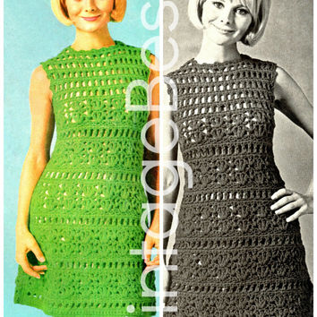 Lace A-Line Dress 1960s CROCHET PATTERN USA Instant Download Pdf Sexy Sassy Simply Lovely Retro Crochet Dress Pattern Vintage Vixen Crochet