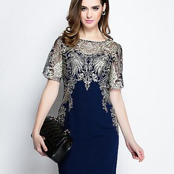 Embroidered Round Neck Above Knee Short Sleeve Blue Polyester