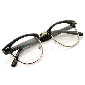 High Quality Unisex Horned Rim Clear Lens RX'able Half Frame Horn Rimmed Glasses