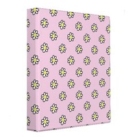 Daisy Polka Dot on a Pink Background Vinyl Binders from Zazzle.com
