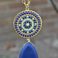 Medallion Necklace - Mint/Royal