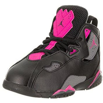 Jordan Nike Toddlers True Flight GT Black/Dark/Grey/Deadly/Pink Basketball Shoe 8 Infants US