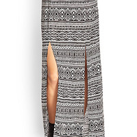 Tribal Print M-Slit Skirt