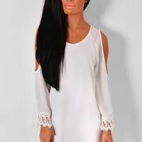 Levity White Open Shoulder Mini Dress | Pink Boutique
