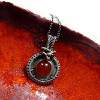 Red agate Sterling silver pendant, metalwork wire wrapped necklace, OOAK jewelry